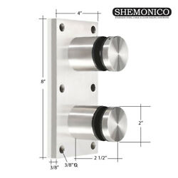 Glass Rail 2 Standoff Fitting With Mounting Plate Brushed Stainless Steel Heavy