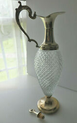 Vtg Glass Decanter W/silver Plated Handle Collar Spout And Pedestal Made In Italy
