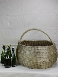 Very Very Large Antique French Wicker Basket With Handle 28¼