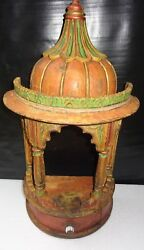 Vintage Wooden Temple Wall Mount Decor Hand Painted Carved Chest Storage India