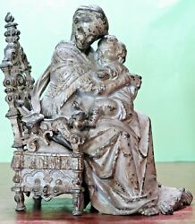 Antique Statue Mother Madonna Of The Chair And Child Jesus French Spelter Uncommon