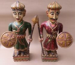 Antique Finished Statue Carved Male And Female Wooden Royal Guards With Weapons 2x