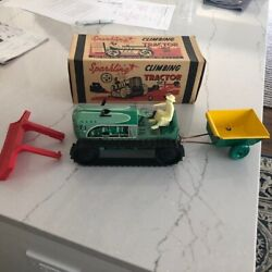 1950 Marx Tin Antique Wind Up Farm Tractor+trailer With Box