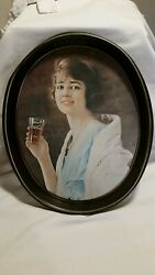 Vintage 1973 Coca-cola Oval Oblong Retro 1923 Flapper Girl Tin Serving Tray