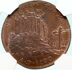 1795 ENGLAND Yorkshire CLIFFORD'S TOWER YORK Conder Half Penny NGC Coin i84268
