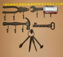 Gift For Him Decorative Workshop Wall Hooks, Cast Iron, Tool Man - 6 Items