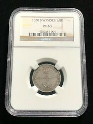 British West Indies 1/8 Dollar Ngc Proof 63 Scarce Choice Unc Grade Silver