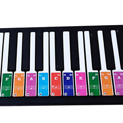 Colorful Piano Stickers Key Keyboards Transparent Removable For 49 37 61 88