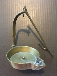 Rare Quality Pristine Antique Brass Miner's Hanging Betty Oil Lamp