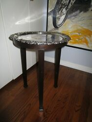 Antique Large Round Heavy Silverplate Oncopper Traytable C1900 Later Walnutstand