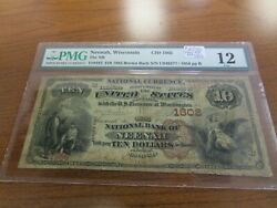 Large Size Wisconsin National Currency 10 Note Nb Neenah Pmg 12