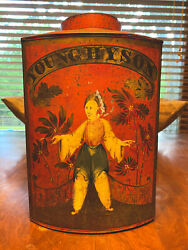 Antique Young Hyson Tea Tin Country General Store Paint 19th C. Portsmouth Nh
