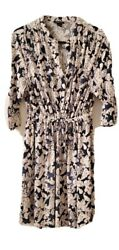 Robert Louis Women Navy Blue with White Textured Paisley Casual Dress 2XL $17.70