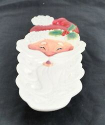 Vintage Fitz And Floyd Christmas Santa Face Snack Serving Tray About 13 1/2 Y4