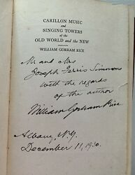 Signed Carillon Music And Singing Towers Old World And The New Rice 1930