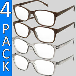 READING GLASSES MENS WOMENS 4 PAIR UNISEX HIGH QUALITY STYLE READERS BRANDED NEW $11.95