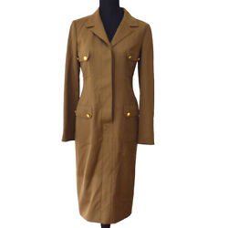 96a 38 Cc Button Long Sleeve One Piece Dress Brown Authentic 03888