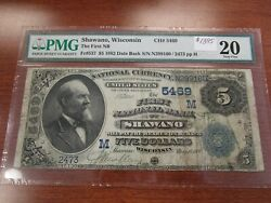Large Size Wisconsin National Currency 5 Note First Nb Shawano Pmg 20