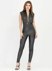 Women Soft Genuine Leather Black Catsuit Leather Overall Sleeveless Playsuit