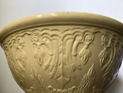 """Antique Farmhouse Yellow Ware Early Jeffords 1800's Mixing Bowl Huge Xxl 15"""""""