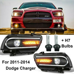 1 Pair Headlight For Dodge Charger 2011-2014 With Drl Led Sequential Turn Signal