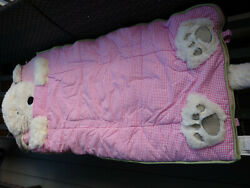 Pottery Barn Kids White Shaggy Puppy Pink Gingham Check Sleeping Bag 71x29