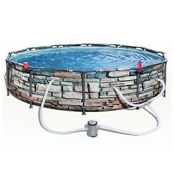 Bestway 56817e 12and039 X 30 Steel Pro Max Round Above Ground Swimming Pool W/ Pump