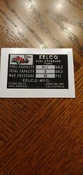 Genuine Eelco 4 1/2 Fuel Tank Data Decal Gasser Fit Moon Official Reproduction