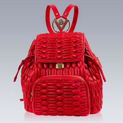 Valentino Orlandi Designer Large Backpack Scarlet Red Quilted Leather Bucket Bag $1,100.00