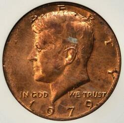 1979 Anacs Ms62 Missing Clad Layer Kennedy Half Dollar Mint Error Red Copper