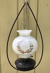 Julius Ives, 1880's, Cast-iron Hanging Oil Lamp, Bracket, Lamp Font And Shade