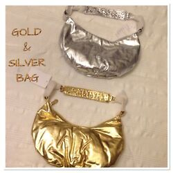 2 SMALL GOLD amp; SILVER BAGS  with STONES MAN MADE MATERIAL PURSE SHOLDER STRAPS $30.00