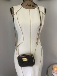 MICHAEL KORS Designer Authentic Leather Logo Crossbody Chain Bag Brown Gold Euc  $42.00
