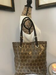 MICHAEL KORS Authentic Designer Coated Canvas Leather Brown Gold Purse Tote Bag $44.00