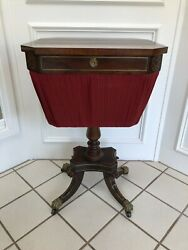 Antique English Victorian Mahogany And Brass Sewing Work Table Stand W Working Key