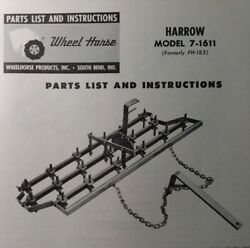 Wheel Horse Tractor Drag Spike Tooth Harrow Implement Owner And Parts 2 Manual S