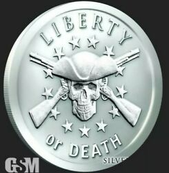 5 Oz .999 Pure Silver Proof Liberty Or Death Silver Shield Round Coin Medallion