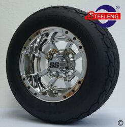 Golf Cart 10 Chrome Storm Trooper Wheels/rims And Gecko 18 Low Profile Tires