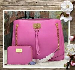 NWT TORY BURCH EVE Chain Shoulder TOTE amp; WALLET In SOFT VIOLET Leather GOLD Tone $389.00