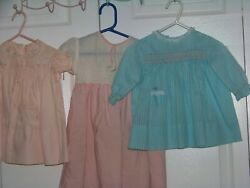 3 LITTLE GIRL DRESSES C. 1940's  to 1950's COTTON  $12.00
