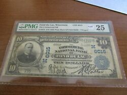 Large Size Wisconsin National Currency 10 Commercial Nb Fond Du Lac Pmg 25