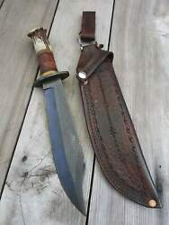 Handmade Damascus Hunting Dagger With Beautiful Leather Cover