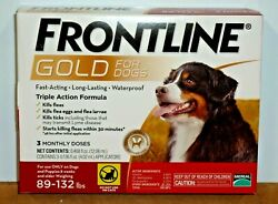 3 MONTHLY DOSES Frontline Gold for Dogs 89 132 lbs Kills Fleas amp; Ticks $29.99