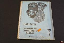 Nos Harley 1940 To 1952 Operation And Maintenance Manual Motorcycle/ Servi Car