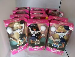 Lot Of 12 State University Barbies Cheerleader Special Edition Byu/georgia Tech/