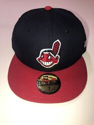 New Era Cleveland Indians Fitted On Field Hat Mens Size 7 Blue Mlb 59fifty New
