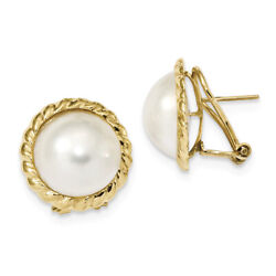14k Yellow Gold 13-14mm White Mabe Freshwater Cultured Pearl Omega Back Earrings
