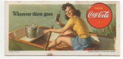 1940s Coca Cola Advertising Blotter Of Woman In Boat