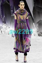 2012 Most Wanted Runway 2 Pc Maxi Dress With Scarf Cc Logo Multi New 38