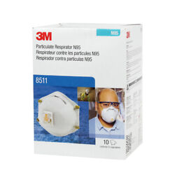 3m 8511 N95 Particulate Respirator W/exhalation Valve 10 Masks/box Exp. 06/2026